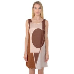 Brown geometric design Sleeveless Satin Nightdress