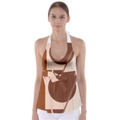 Brown geometric design Babydoll Tankini Top