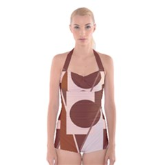 Brown geometric design Boyleg Halter Swimsuit