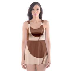 Brown geometric design Skater Dress Swimsuit