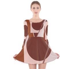 Brown geometric design Long Sleeve Velvet Skater Dress