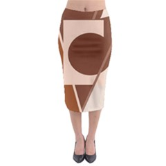 Brown geometric design Midi Pencil Skirt