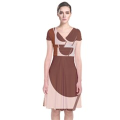 Brown Geometric Design Short Sleeve Front Wrap Dress