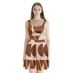 Brown geometric design Split Back Mini Dress