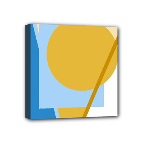 Blue and yellow abstract design Mini Canvas 4  x 4