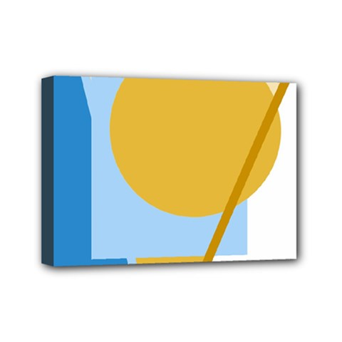 Blue and yellow abstract design Mini Canvas 7  x 5