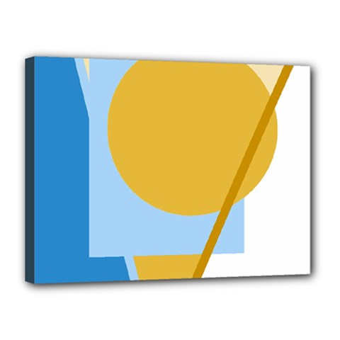 Blue and yellow abstract design Canvas 16  x 12