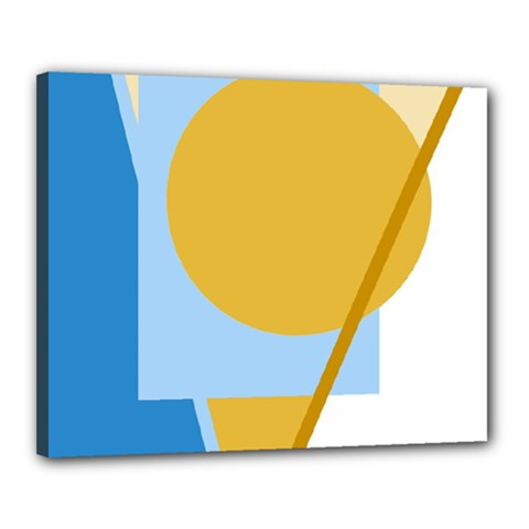 Blue and yellow abstract design Canvas 20  x 16