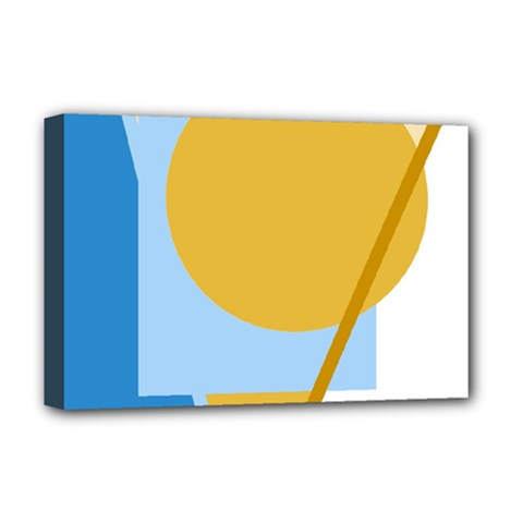 Blue and yellow abstract design Deluxe Canvas 18  x 12