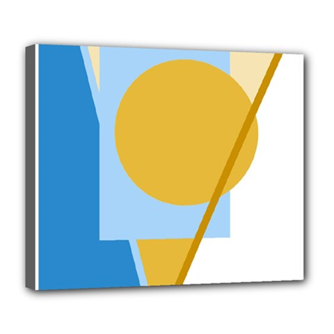 Blue and yellow abstract design Deluxe Canvas 24  x 20