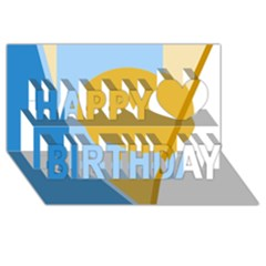 Blue and yellow abstract design Happy Birthday 3D Greeting Card (8x4)