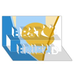 Blue and yellow abstract design Best Friends 3D Greeting Card (8x4)