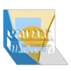Blue and yellow abstract design YOU ARE INVITED 3D Greeting Card (7x5)