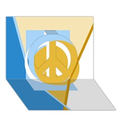 Blue and yellow abstract design Peace Sign 3D Greeting Card (7x5)