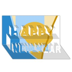 Blue and yellow abstract design Happy New Year 3D Greeting Card (8x4)