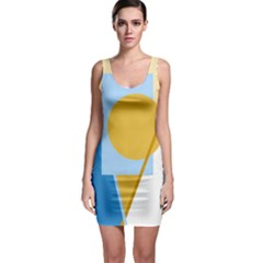 Blue and yellow abstract design Sleeveless Bodycon Dress