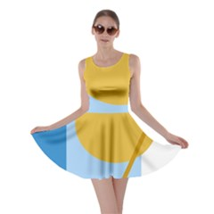 Blue and yellow abstract design Skater Dress