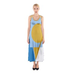 Blue and yellow abstract design Sleeveless Maxi Dress