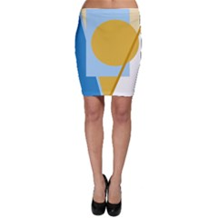 Blue and yellow abstract design Bodycon Skirt