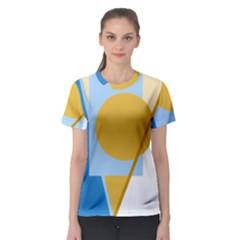 Blue and yellow abstract design Women s Sport Mesh Tee