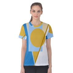 Blue and yellow abstract design Women s Cotton Tee