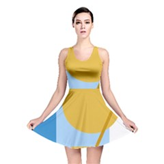 Blue and yellow abstract design Reversible Skater Dress