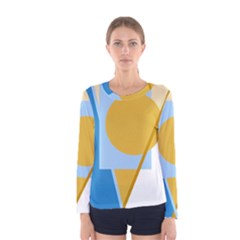 Blue and yellow abstract design Women s Long Sleeve Tee