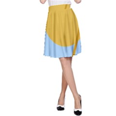 Blue and yellow abstract design A-Line Skirt