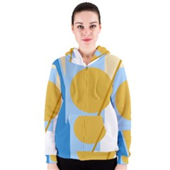 Blue and yellow abstract design Women s Zipper Hoodie