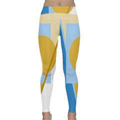 Blue and yellow abstract design Yoga Leggings
