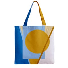 Blue and yellow abstract design Zipper Grocery Tote Bag