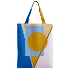 Blue and yellow abstract design Zipper Classic Tote Bag