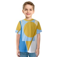 Blue and yellow abstract design Kid s Sport Mesh Tee