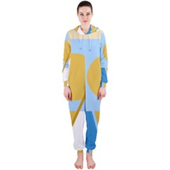Blue and yellow abstract design Hooded Jumpsuit (Ladies)