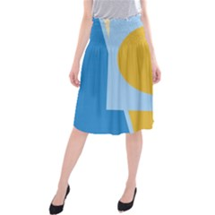 Blue and yellow abstract design Midi Beach Skirt