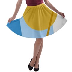 Blue and yellow abstract design A-line Skater Skirt