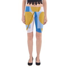 Blue and yellow abstract design Yoga Cropped Leggings