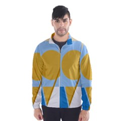 Blue and yellow abstract design Wind Breaker (Men)