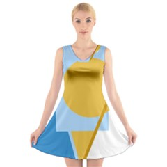 Blue and yellow abstract design V-Neck Sleeveless Skater Dress