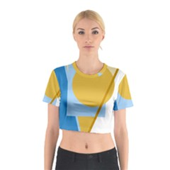 Blue and yellow abstract design Cotton Crop Top
