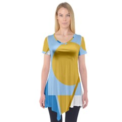 Blue And Yellow Abstract Design Short Sleeve Tunic