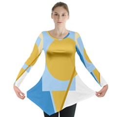 Blue and yellow abstract design Long Sleeve Tunic