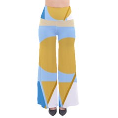 Blue and yellow abstract design Pants
