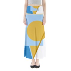 Blue and yellow abstract design Maxi Skirts