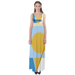 Blue and yellow abstract design Empire Waist Maxi Dress