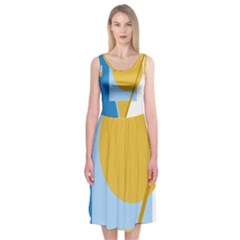 Blue and yellow abstract design Midi Sleeveless Dress