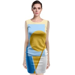 Blue and yellow abstract design Classic Sleeveless Midi Dress