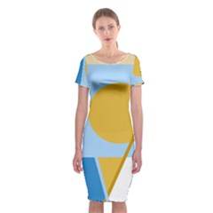 Blue and yellow abstract design Classic Short Sleeve Midi Dress