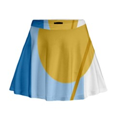 Blue And Yellow Abstract Design Mini Flare Skirt