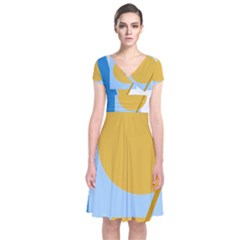 Blue And Yellow Abstract Design Short Sleeve Front Wrap Dress